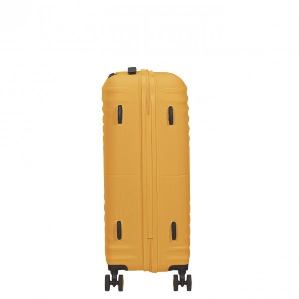 American Tourister Wavetwister Spinner 66 sunset yellow Harde Koffer van ABS