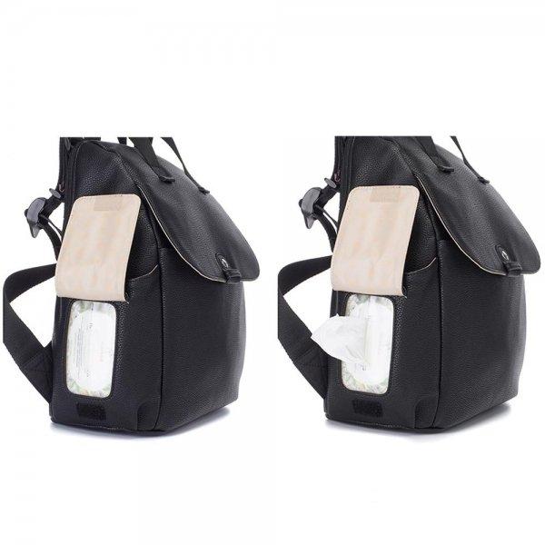 Babymel Robyn Convertible Backpack faux leather black Luiertas van Canvas