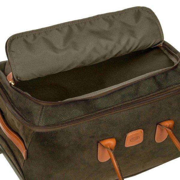 Bric's Life Holdall Reistas met Wielen 55 olive Handbagage koffer Trolley van Leer