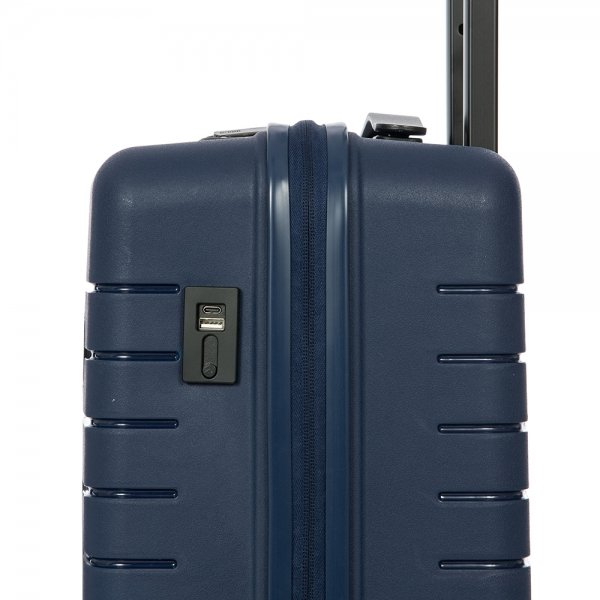 Bric's Ulisse Trolley 55 USB ocean blue Harde Koffer van Polypropyleen