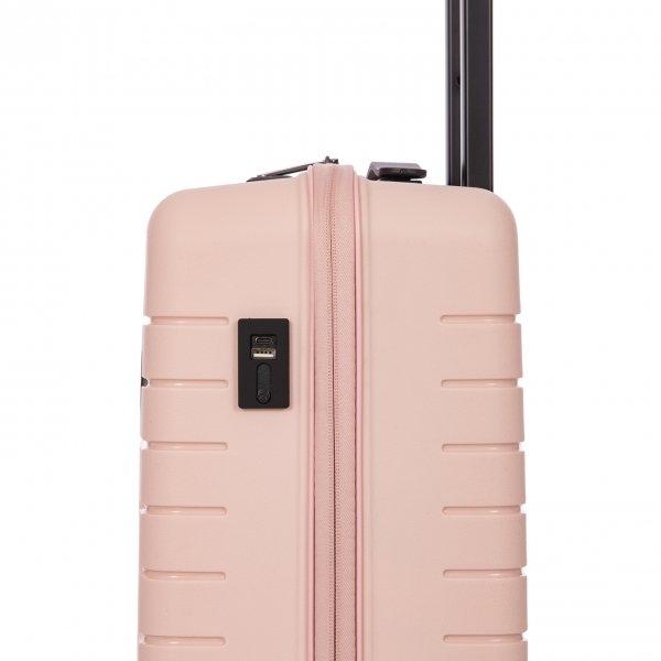 Bric's Ulisse Trolley 55 USB pearl pink Harde Koffer van Polypropyleen