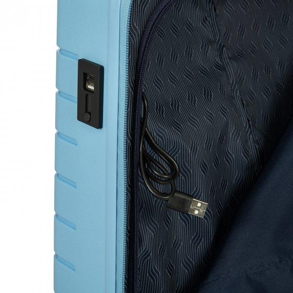 Bric's Ulisse Trolley 55 USB sky blue Harde Koffer