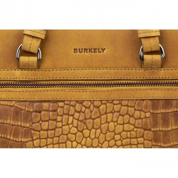 Burkely Croco Cody Handbag S ochre yellow Damestas van Leer