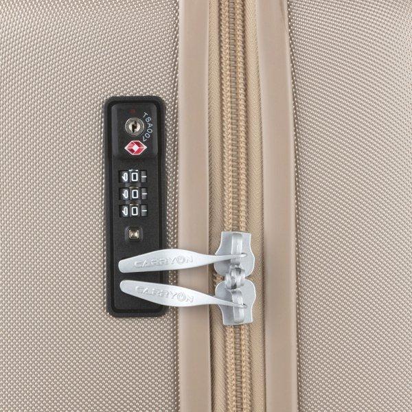 CarryOn Skyhopper Trolleyset 3pcs TSA champagne van Polycarbonaat