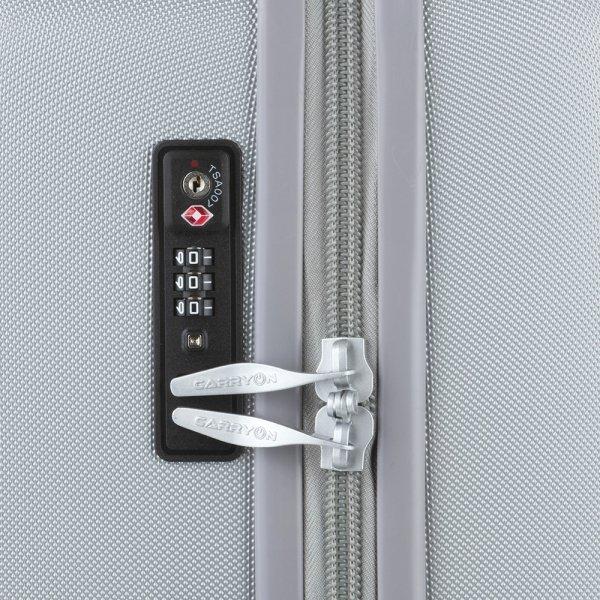CarryOn Skyhopper Trolleyset 3pcs TSA silver van Polycarbonaat