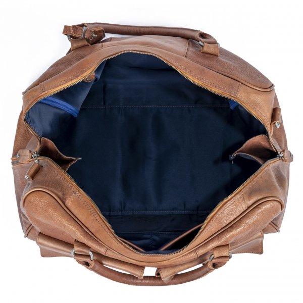 DSTRCT Raider Road Travelbag + cognac van Leer