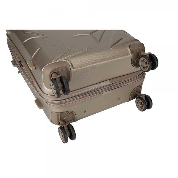 Decent Q-Luxx Trolley 77 champagne Harde Koffer van ABS