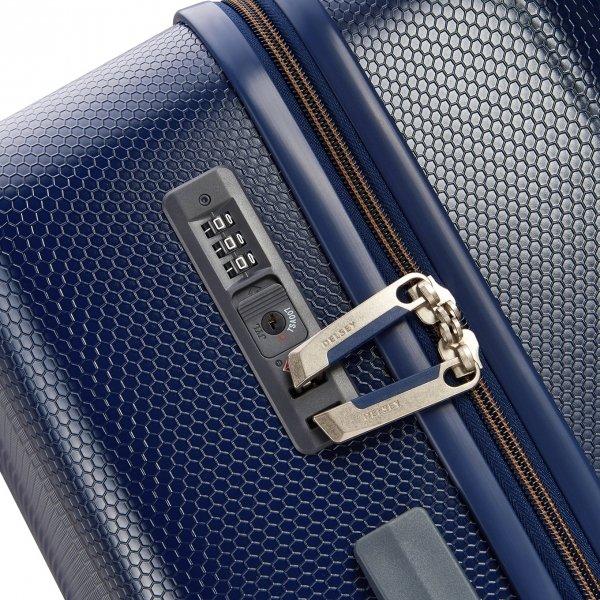 Delsey Toliara 4 Wiel Trolley 55 blue Harde Koffer van ABS
