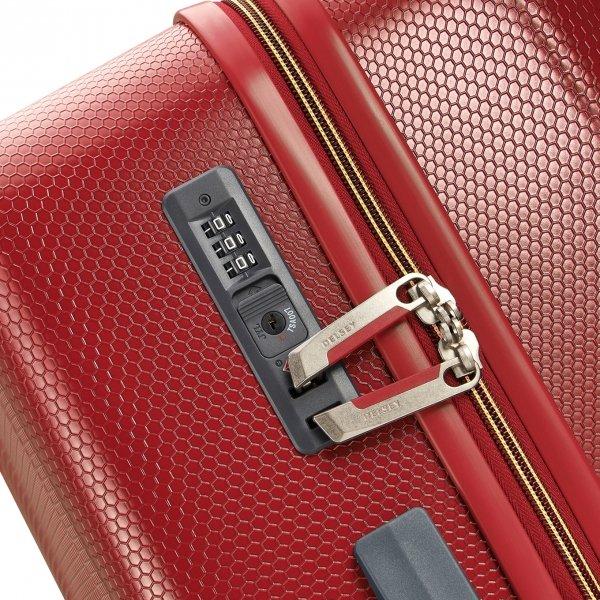 Delsey Toliara 4 Wiel Trolley 76 red Harde Koffer van ABS