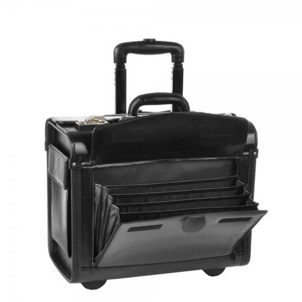 Dermata Business Leather Pilottrolley zwart Handbagage koffer van Leer