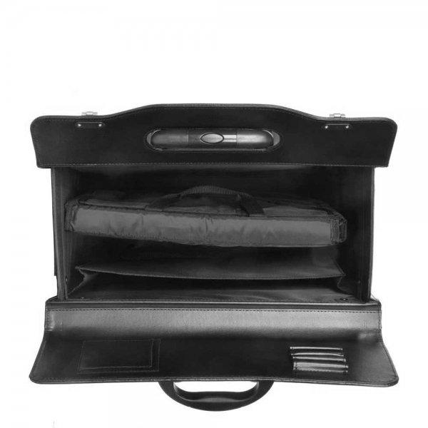 Dermata Business Pilottrolley XL zwart Handbagage koffer van Imitatie leer