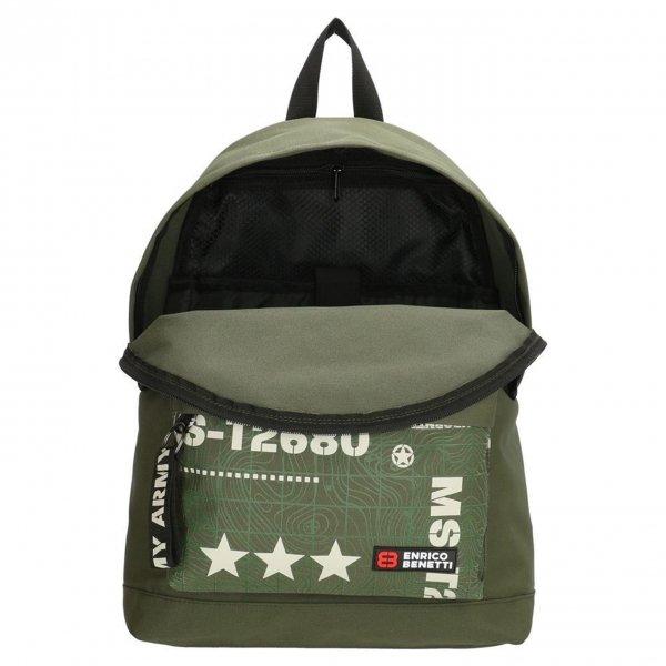 Enrico Benetti Amsterdam City Rugtas 14'' olijf backpack van Polyester