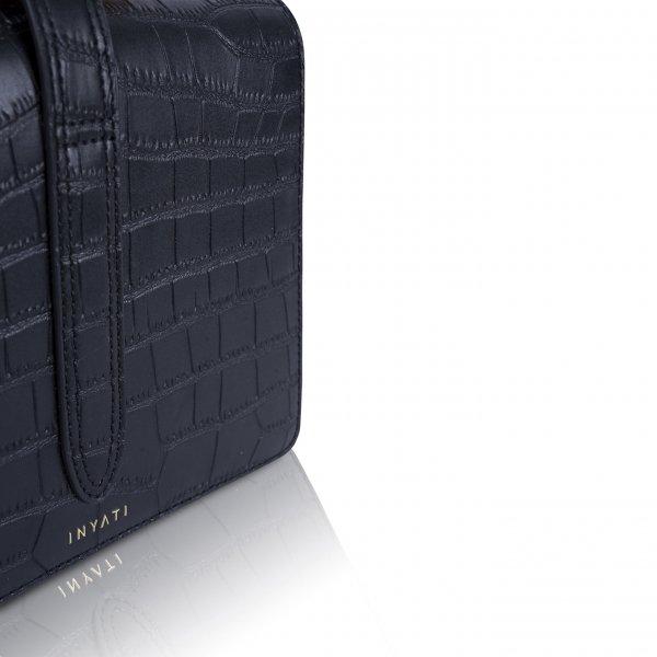 Inyati Abbey Top Handle Bag black croco matt Damestas van Vegan leer