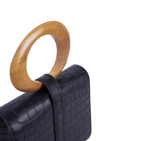 Inyati Abbey Top Handle Bag black croco matt Damestas