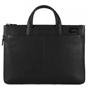 "Piquadro Black Square Small Expandable Computer Bag 15.6"" black"