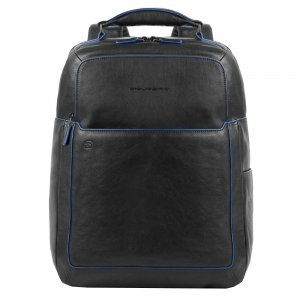 "Piquadro Blue Square Fast Check Computer Backpack with iPad 10.5"" black backpack"