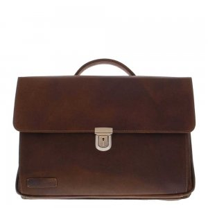 "Plevier Vintage Manchester aktetas 17.3"" donker bruin"