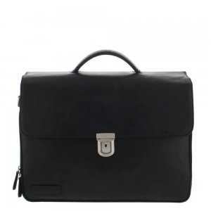 "Plevier Vintage Oxford Laptoptas 3 vaks 15.6"" zwart"