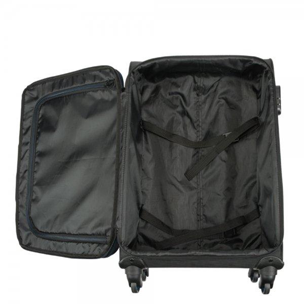 Princess Traveller Colombo 4 Wiel Trolley L black Zachte koffer van Polyester