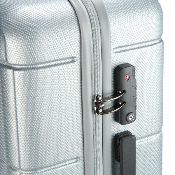 Princess Traveller Macau 4 Wiel Trolley L silver Harde Koffer van ABS