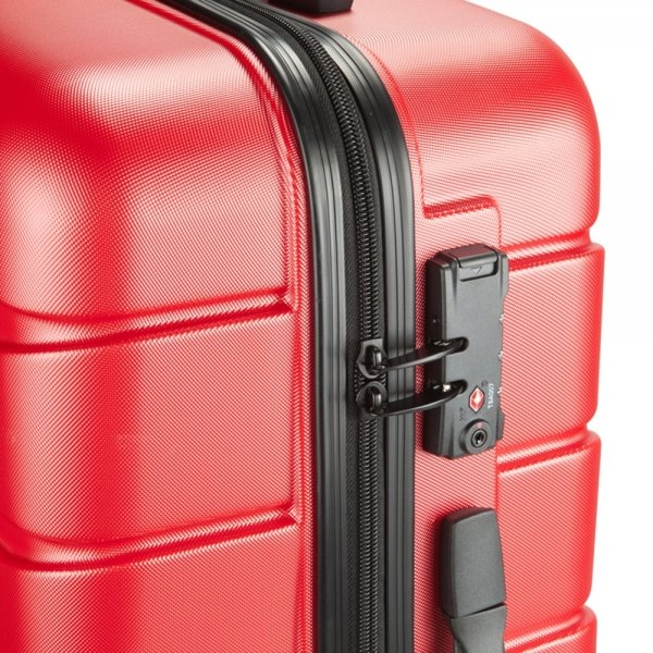 Princess Traveller Ottawa 4 Wiel Trolley M red Harde Koffer van ABS