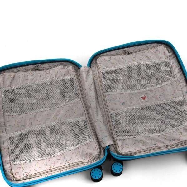 Roncato Box 2.0 Young 4 Wiel Cabin Trolley 55/20 azzuro/nero Harde Koffer van Polypropyleen