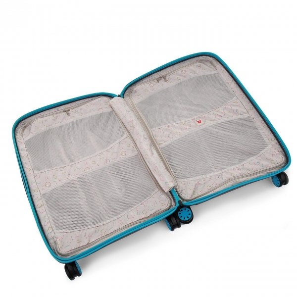 Roncato Box 2.0 Young Medium 4 Wiel Trolley 69 azzuro/nero Harde Koffer van Polypropyleen