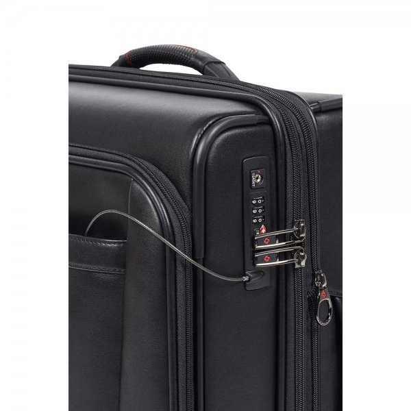 Samsonite Pro-DLX 5 LTH Spinner 55 Expandable black Zachte koffer van Leer