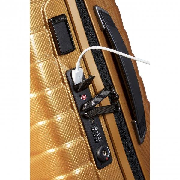 Samsonite Proxis Spinner 55 Expandable honey gold Harde Koffer van Roxkin