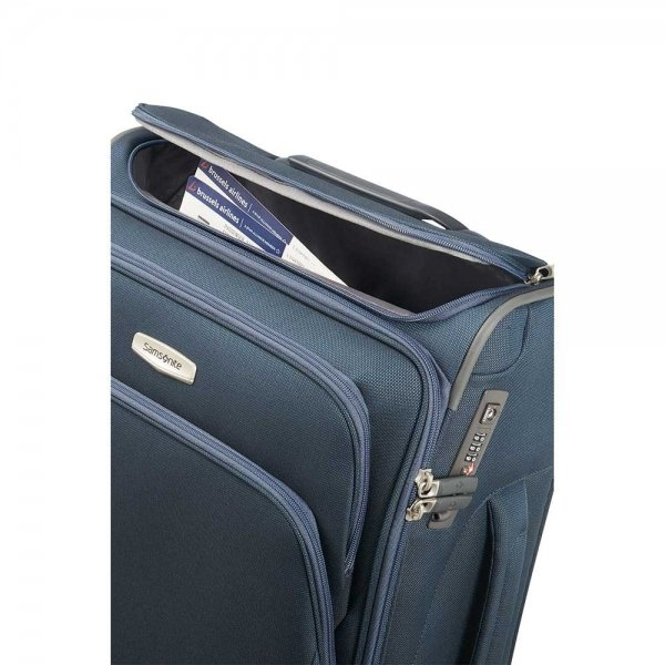 Samsonite Spark SNG Spinner 55 Toppocket black Zachte koffer van Polyester