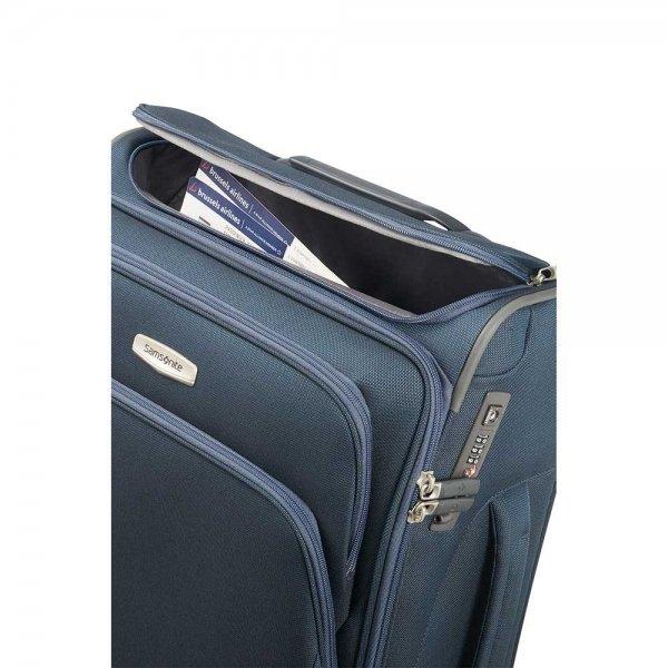 Samsonite Spark SNG Spinner 55 Toppocket blue Zachte koffer van Polyester