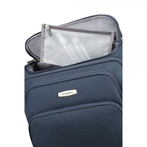 Samsonite Spark SNG Upright 55 Expandable Toppocket black Zachte koffer van Polyester