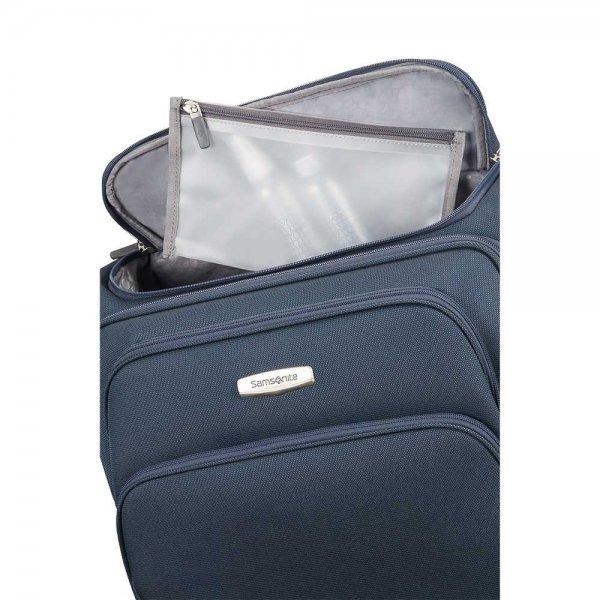 Samsonite Spark SNG Upright 55 Expandable Toppocket blue Zachte koffer van Polyester