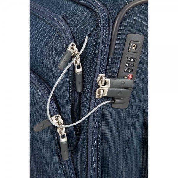 Samsonite Spark SNG Upright 55 Expandable blue Zachte koffer van Polyester
