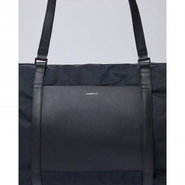 Sandqvist Hellen Gym Bag black with black leather van Polyester