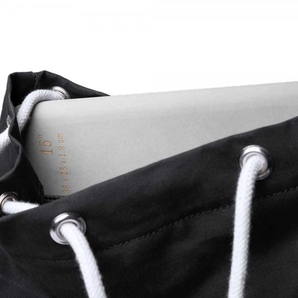 Sandqvist Roald Backpack black with natural leather backpack van Polyester