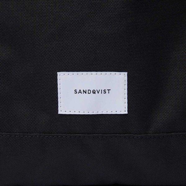 Sandqvist Roger Backpack black with black leather backpack van Polyester