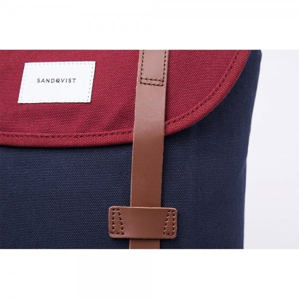Sandqvist Stig Backpack multi blue / burgundy backpack van Katoen