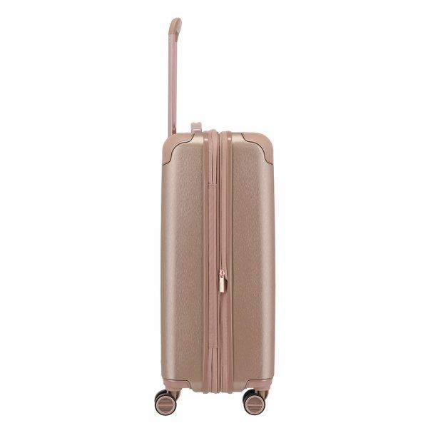 Titan Barbara Glint 4 Wiel Trolley M Expandable rose metallic Harde Koffer van Polycarbonaat