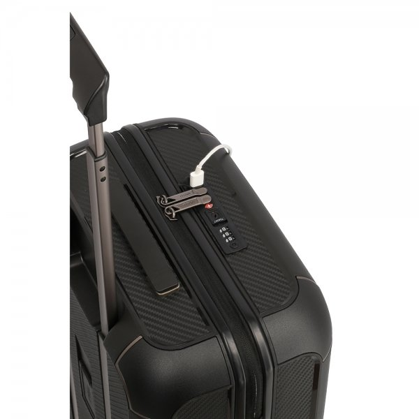 Titan Compax 4 Wiel Trolley S USB black Harde Koffer