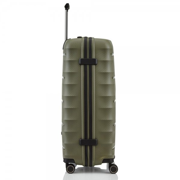 Titan Highlight 4 Wiel Trolley L khaki Harde Koffer van Polypropyleen