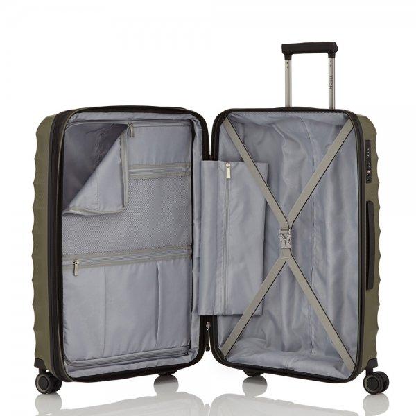 Titan Highlight 4 Wiel Trolley M Expandable khaki Harde Koffer van Polypropyleen