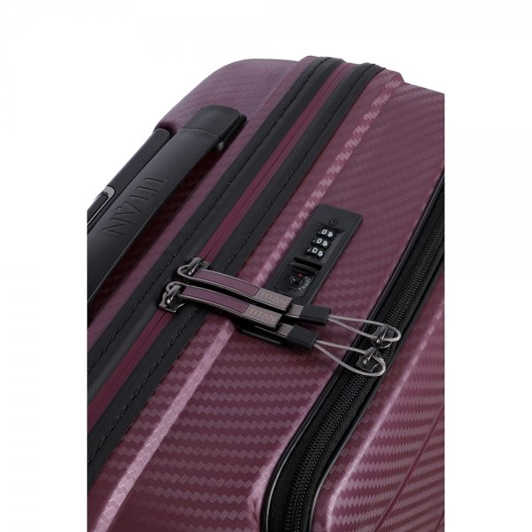 Titan Highlight 4 Wiel Trolley S Front Pocket merlot Harde Koffer van Polypropyleen