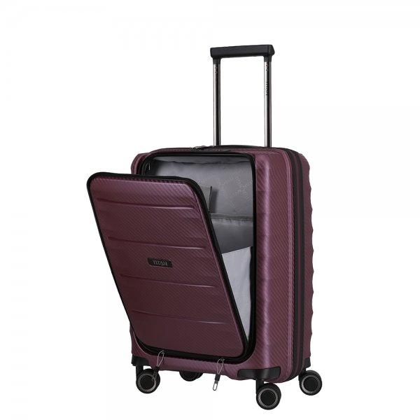 Titan Highlight 4 Wiel Trolley S Front Pocket merlot Harde Koffer
