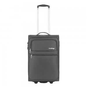 Travelbags Lissabon Handbagage koffer - 55 cm - 2 wielen - dark grey Zachte koffer
