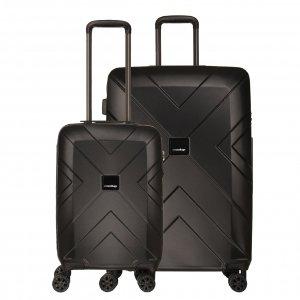 Travelbags Londen 2 Delige Trolley Set black
