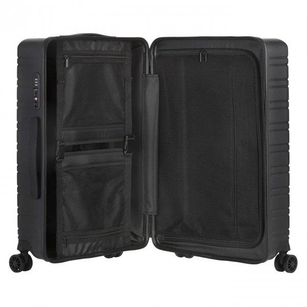 Travelbags Premium Handbagage koffer - 55 cm - 4 wielen - USB - black Harde Koffer van Polypropyleen