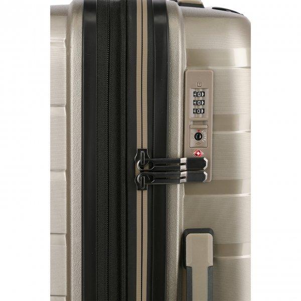 Travelite Air Base 4 Wiel Trolley M Expandable champagne metallic Harde Koffer van Polypropyleen