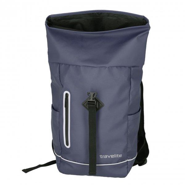 Travelite Basics Roll-Up Backpack marine blue Rugzak van Polyester