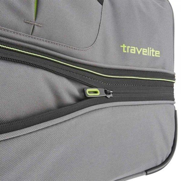 Travelite Basics Wheeled Duffle 55 Expandable grey / green Handbagage koffer Trolley van Polyester